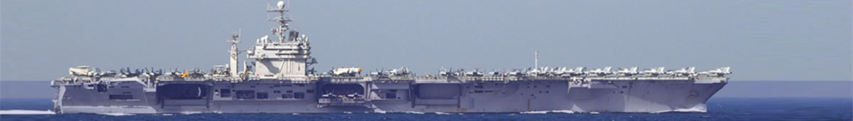 Starboard side view of USS Theodore Roosevelt CVN-71 while underway