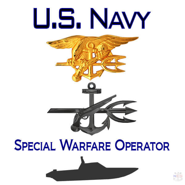 Navy Special Warfare Operator rating insignia and SEAL Trident